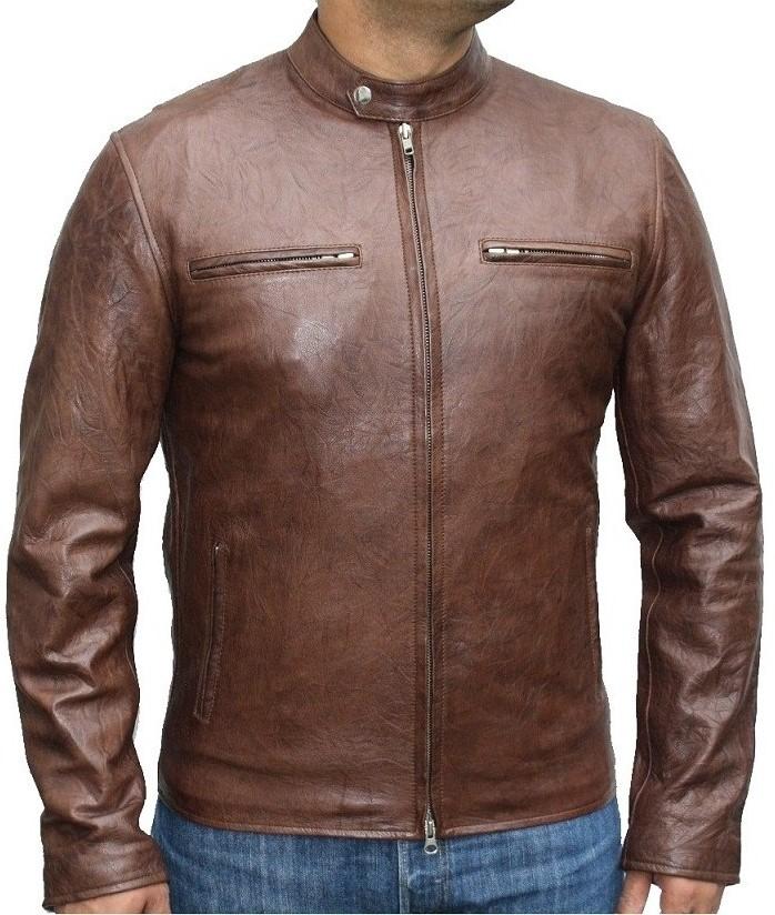 Cafe Racer Style Leather Jacket
