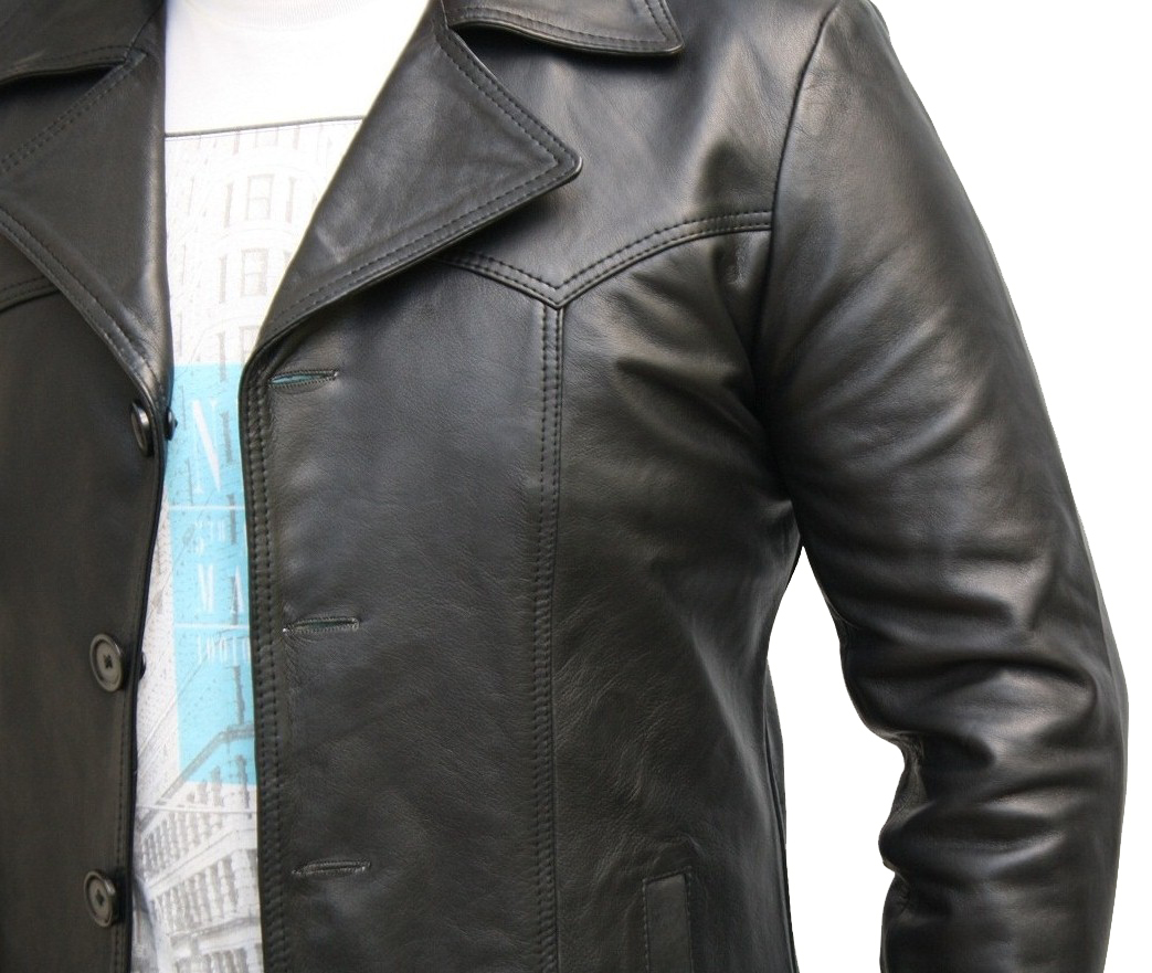 Mens Fashions Vintage 70s Style Fitted button Up Earth Brown Leather Jacket