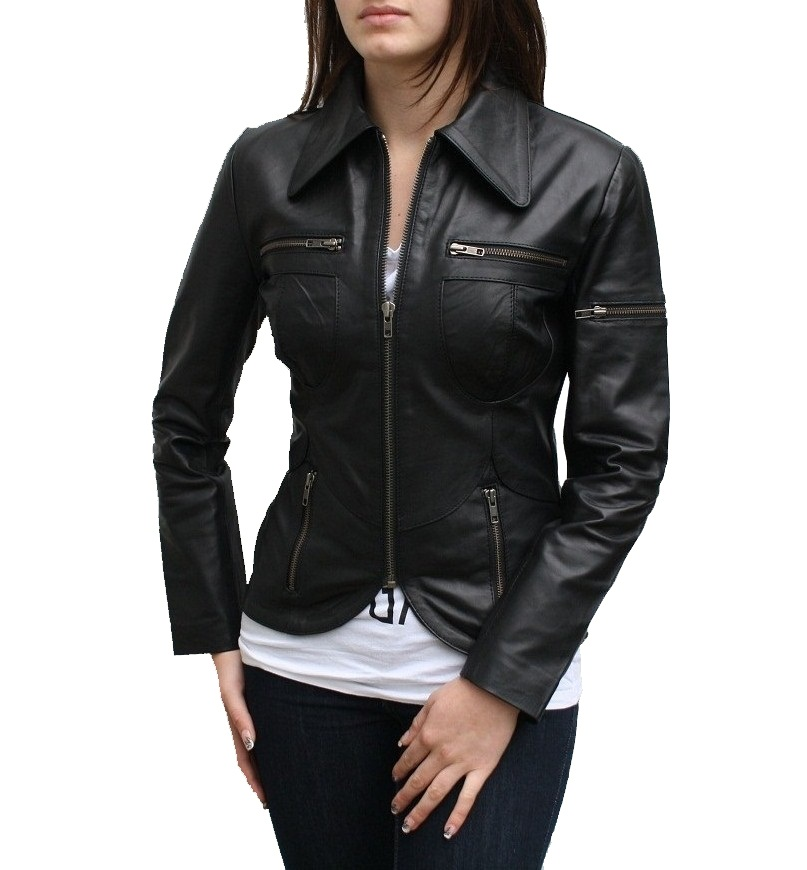 Black Ladies Leather Jacket - Coat Nj
