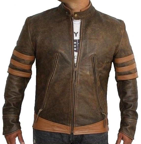 Distressed Brown Leather Jackets - Jacket