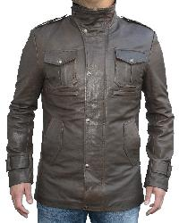 Hunter Leather Jacket Antique Olive